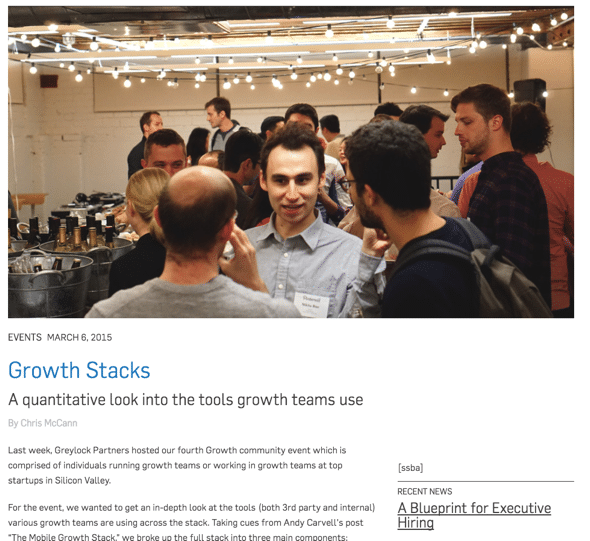 Origins of the Mobile Growth Stack - Mobile Growth Stack used in Workshop Events from Greylock Partners