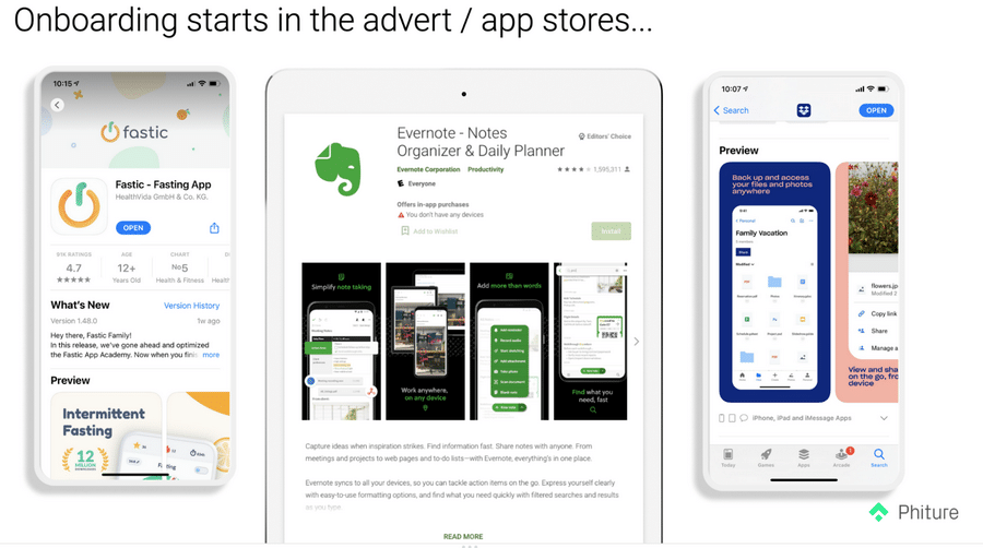3. Onboarding starts in the app stores