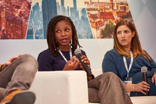 Women In Wireless/mbolden's Ngozi Ogbonna speaks on a panel about User Acquisition Channels & Tools