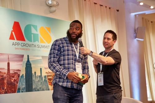 Liftoff's Dennis Mink MC's the Mobile Marketing Showdown game show at App Growth Summit NYC 2018