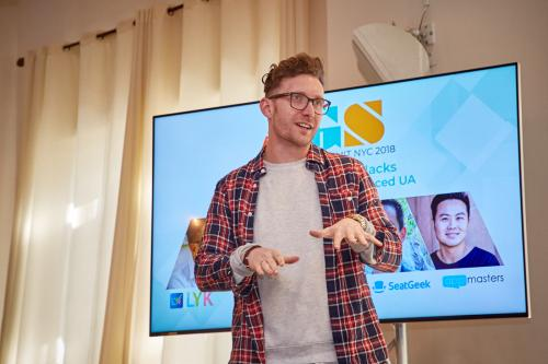 Andrew Birnbryer from Applift leads his panel at App Growth Summit NYC 2018